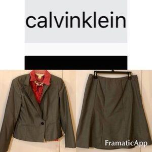 Calvin Klein- Grey, A-Line Skirt Suit Set